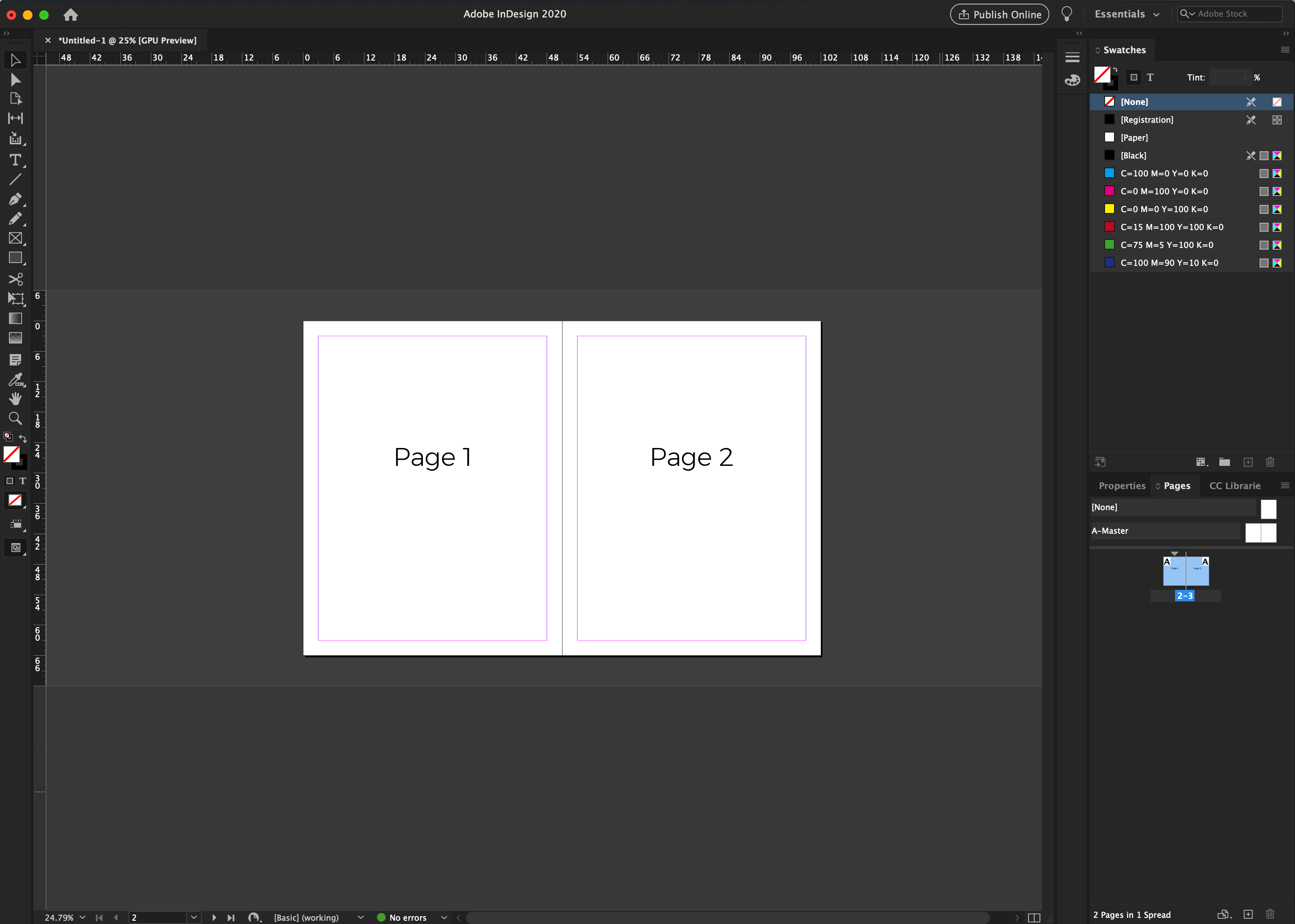 inDesign 2 page spread